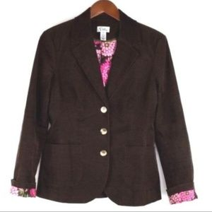 Lilly Pulitzer Size 6 Brown Corduroy Blazer Jacket